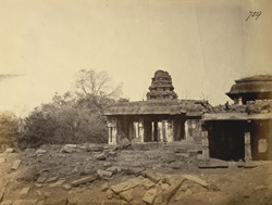 Distant view of kalyanamandapa of the Narasimha Temple, Ahobilam